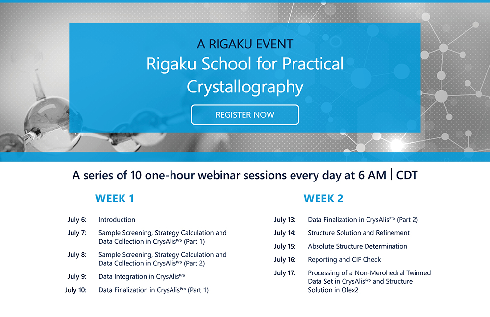 Rigaku School for Practical Crystallography – Asia Pacific Add to Default shortcuts Primary tabs