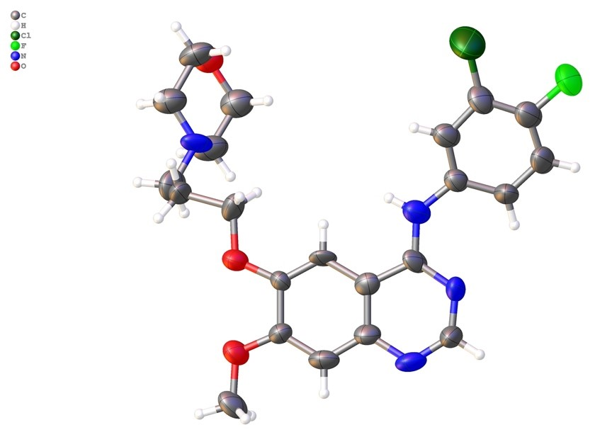 An example structure from XtaLAB Synergy-ED: Gefitinib (crystal size is about 300 nm)