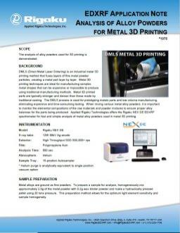 XRF1978: Analysis of Alloy Powders for Metal 3D Printing