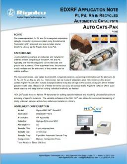 AppNote XRF1943: Pt, Pd, Rh in Recycled Automotive Catalysts