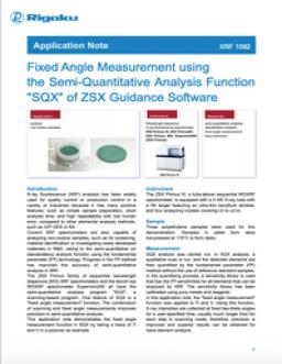 "Fixed Angle Measurement using the Semi-Quantitative Analysis Function ""SQX"" of ZSX Guidance Software"