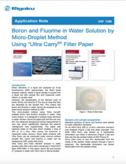 "Boron and Fluorine in Water Solution by Micro-Droplet Method Using ""Ultra Carry®"" Filter Paper"